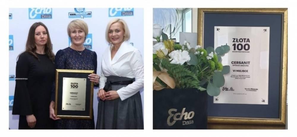 """Cersanit S.A. w czołówce rankingu """"Złota Setka 2019"""" Echa Dnia"""